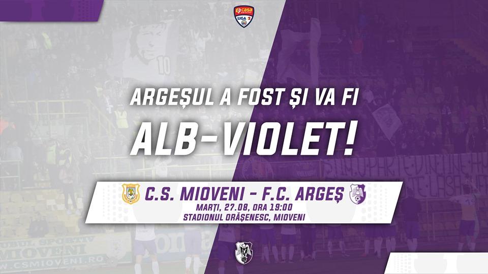 CS Mioveni-FC Argeş, se joacă în nocturnă!